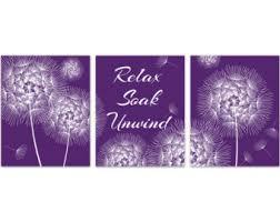 Purple Bathroom Wall Art Dandelion INSTANT DOWNLOAD Relax Soak Unwind Modern