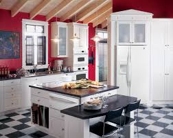 Sage Green Kitchen Cabinets With White Appliances by Ge Profile Kitchen With Red Walls White Cabinets And White