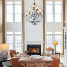 Transitional Neutral Two Story Living Room