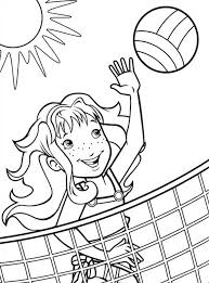 A Girl Blocking The Volleyball Coloring Page