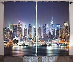 Amazon Navy Curtains New York City Decor by Ambesonne