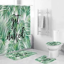 hawaii stil grüne blätter dusche vorhang lustige zitate bad 4 stück set hohe qualität bad vorhang für badezimmer dekor