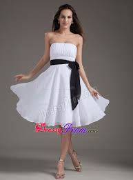 up white chiffon ruched short prom dress with black sash