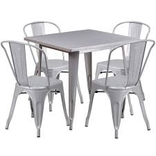 31.5'' Square Silver Metal Indoor-Outdoor Table Set With 4 Stack Chairs Home Source Donna Silver Metal Ding Table Grey Na Fniture Nice Chair Room Qarmazi White And Gray Set Of Eight Vintage Rams Head Angloindian Embossed Chairs Ausgezeichnet Industrial Wood Design Hefner Silver 5 Piece Ding Set 100 To Complete Flash 315 X 63 Rectangular Inoutdoor With 4 Stack Polk In Brushed Rustic Pine Seat 3pcs Black Metal Details About 2pcs Distressed 11922 Indian Hub Cosmo Silver Ding Table Chairs Thepizzaringcom