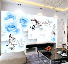 living room wall murals blue floral wallpaper wall mural for