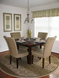 Dining Room Mesmerizing Patterned Round Large Rugs For Mini With Wooden Table High Back Chairs Painting And Chandelier Shapes Neutral Washable Mats Cute