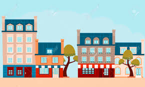 100 Small Flat Design The Street Of A French City Vector Illustration