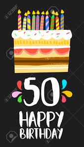 alles gute zum geburtstag zahl 50 grußkarte für 50 jahre in spaß stil mit kuchen und kerzen