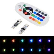 1 pair t10 rgb multi colors changing led l bulb colorful auto