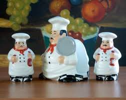 Fat Italian Chef Kitchen Theme by Bistro Fat Italian Chef Salt Pepper Napkin Holder New Ebay Fat