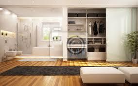 fototapete kleiderschrank und bad im wohnzimmer