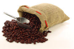Red Kidney Beans In A Burlap Bag Royalty Free Stock Images
