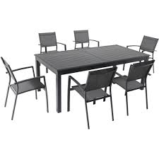 Hanover Dawson 7 Piece Aluminum Outdoor Dining Set With 6 Sling Chairs And An