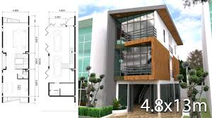 100 Narrow House Designs Sketchup Modeling 3 Stories Design Size 48x13m 4 Bedrooms Plan