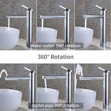 wasserhahn bad hoch doppelt 360 drehbar waschtischarmatur messing mischbatterie bad für waschbecken badarmatur chrom einhebelmischbatterie