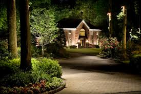 Cast Lighting Moon light and uplighting along a driveway with a