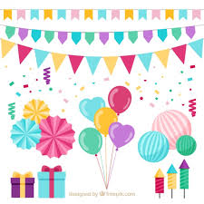Collection Of Gifts And Birthday Decoration Free Vector