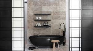 matte black bathroom contemporary with floating shelves shell