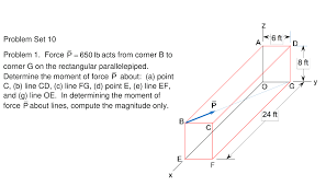 100 Rectangular Parallelepiped Force P 650 Lb Acts From Corner B To Corner G On Cheggcom