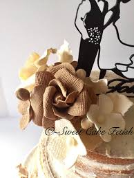 Rustic Burlap Sugar Flower Gumpaste Wedding Cake Topper Toppers Fondant From