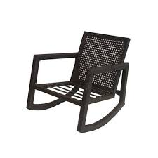 Allen + Roth Lawley Textured Black Steel Strap Seat Patio Rocking ...