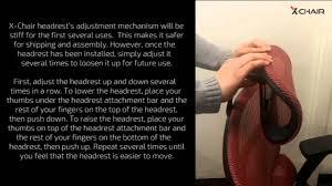 Hyken Mesh Chair Manual by X Chair Headrest Adjustment Youtube