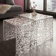 details zu stylischer couchtisch abstract 2er set silber im gap design wohnzimmertisch
