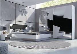 details zu schlafzimmer set fulmo weiss grau doppelbett mit led schrank 250 cm 2x nachtisch