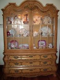 Henredon Walnut China Cabinet by Vintage Dorothy Draper Viennese Collection Bombe China Cabinet On