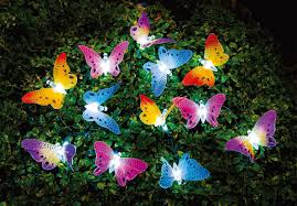 Led Patio String Lights Walmart by Hometrends Solar Powered Fiber Optic Butterfly String Lights