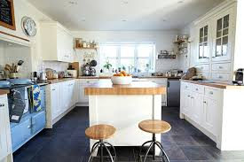 Country Kitchens With White Cabinet Cozy Kitchen Cabinets Blue Vintage Stove And Butcher