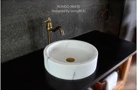 vasque ronde en marbre blanc rondo white