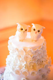 Cute White Owl Cake Toppers Added A Charming Touch To The Wedding