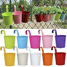 Ogima 10 Piece Metal Iron Hanging Flower Pots Multicolor