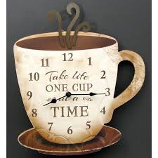 Wooden Coffee Clock Take Life One Cup At A Time Large Great Decor Item For Kitchen Or Area Measures 15 X