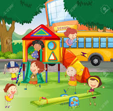 Children Playing In The School Playground Illustration Stock Vector