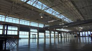 Interior of an empty warehouse factory or showroom Stock Video