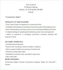 Construction Resume Templates Template 9 Free Samples Examples Format
