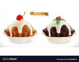Chocolate Christmas Cupcake Fairy Cake With Vector Image