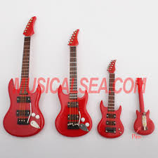 Miniature Guitar Model And Pins Christmas Tree Ornament Musical Instrument Wooden Craft