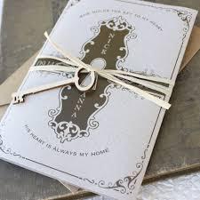 Vintage Key Wedding Invitation Printed Pocket Fold