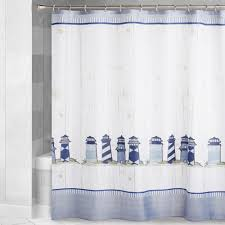 Blue Nautical Lighthouse Shower Curtain