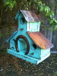 RUSTIC Turquoise BARN WOOD Birdhouse W Rusted Metal Roof Is That A Horse Shoe