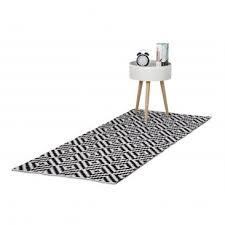 teppich läufer flur handmade schwarz weiß muster kaufen