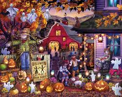 Hard Halloween Brain Teasers by Halloween Barn Dance Jigsaw Puzzle Puzzlewarehouse Com