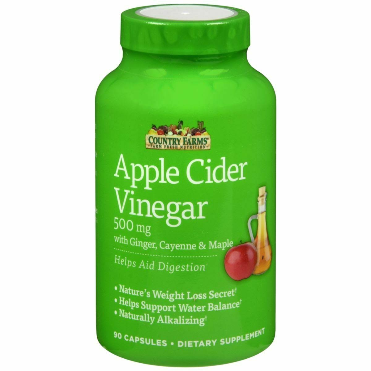 Country Farms Apple Cider Vinegar Supplement - 500mg, 90 Capsules