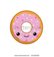 Cute Donut With Pink Cream And Candy On Top