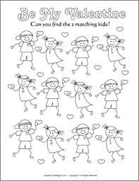 Matching Games For Kids Valentine Coloring Pages Sheets Activities