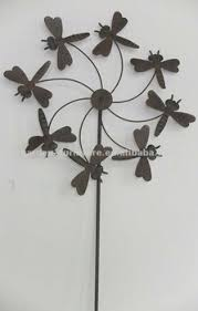 Antique Garden Stakes Metal Dragonfly Windmill Wholesale Decorative Animal Yard Stake Rustic Cast Iron Art Ornaments