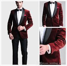 Burgundy Velvet Slim Fit Groom Tuxedos Wedding Suits Custom Made Groomsmen Best Man Prom Black Pants Jacket Bow Tie Hanky